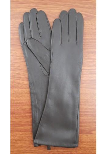 S 40 - Дамски дълги ръкавици от естествена кожа в тъмно кафяво