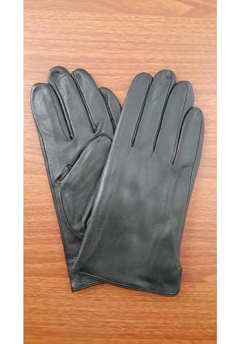 S 119 Мъжки изчистени ръкавици от естествена кожа подплатени с плюш в черно
