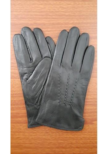 S 1013 Мъжки ръкавици от естествена кожа подплатени с плюш в черно