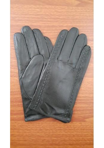 S 1017  Мъжки ръкавици от естествена кожа подплатени с плюш в черно
