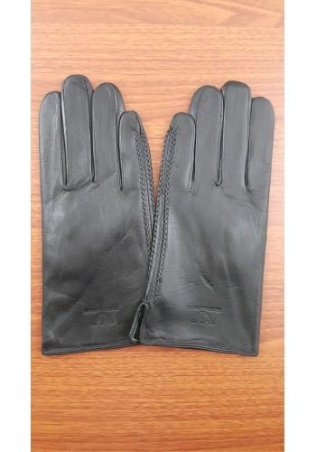S 261  Мъжки ръкавици от естествена кожа подплатени с плюш в черно