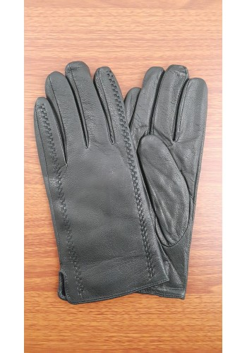 SL 216  Мъжки ръкавици от дебела агнешка кожа в черно с декоративни шевици