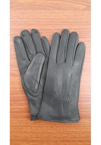SL 066  Мъжки ръкавици от дебела агнешка кожа в черно с декоративни шевици