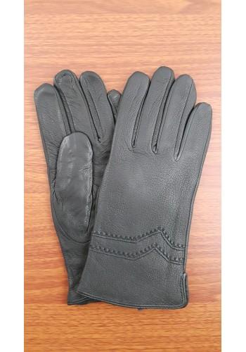 SL 073  Мъжки ръкавици от дебела агнешка кожа в черно с декорация