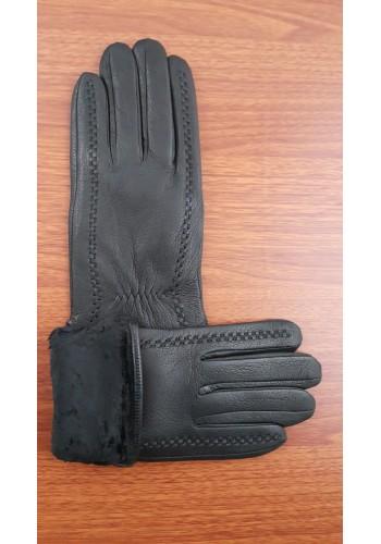 SL 068  Мъжки ръкавици от дебела агнешка кожа в черно с декоративни шевици