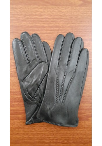 L 221  Мъжки ръкавици от много фина, луксозна, естествена кожа в черно с декорация