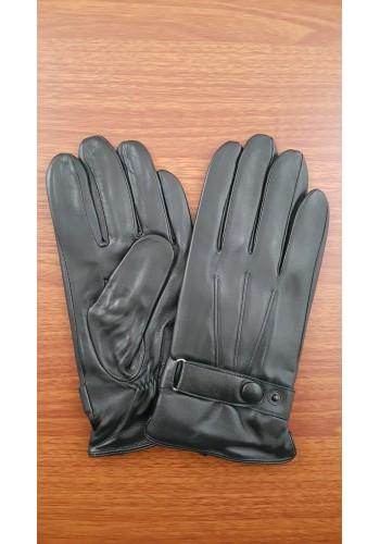 L 203  Мъжки ръкавици от много фина, луксозна, естествена кожа в черно с декорация