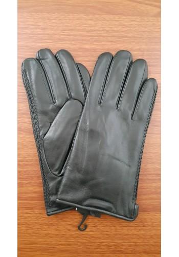 L 216  Мъжки ръкавици от много фина, луксозна, естествена кожа в черно с декорация