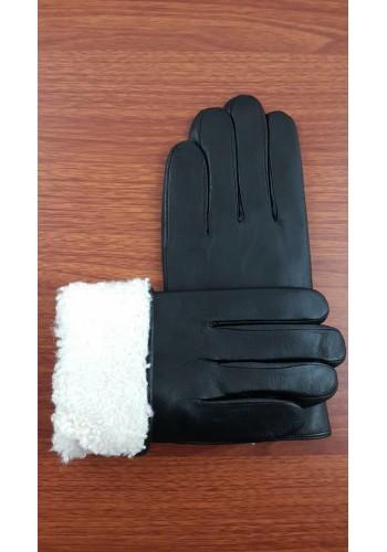 V 061  Мъжки ръкавици от дебела, луксозна, естествена кожа в черно подплатени с естествена вълна