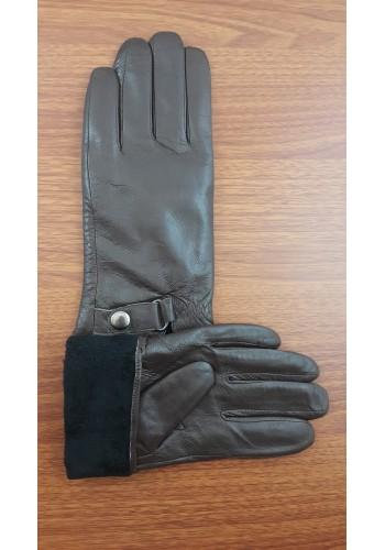 S 204  Мъжки ръкавици от естествена кожа подплатени с плюш в тъмно кафяво