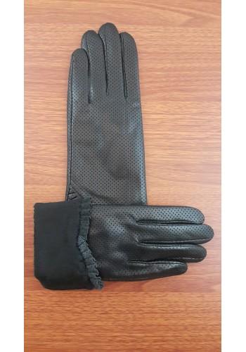 LUX 004 - Дамски ръкавици от луксозна естествена кожа в черно перфорирани изцяло