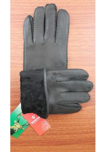ЕЛЕН 119 - Мъжки изчистени ръкавици от луксозна ЕЛЕНСКА кожа в черно