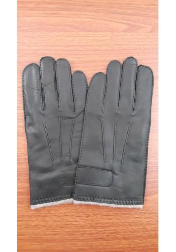 ЕЛЕН 108 - Мъжки ръкавици от луксозна ЕЛЕНСКА кожа в черно