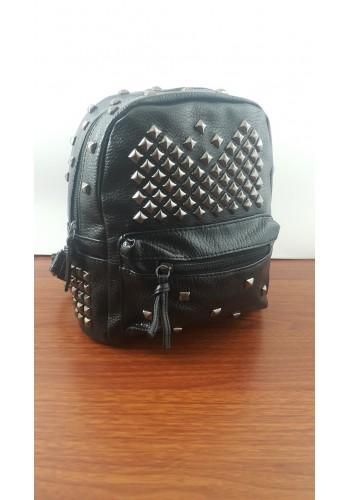 R 801-2  Дамска раничка от луксозна еко кожа с капси в черно