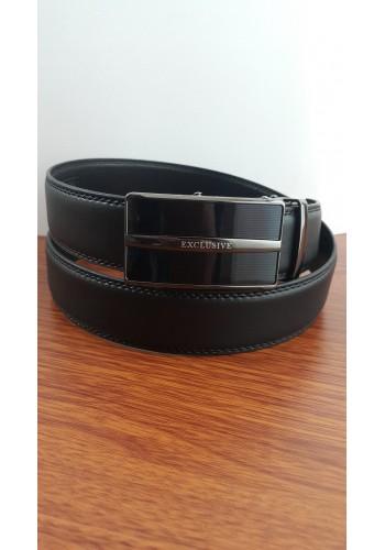 1045 - 01  Мъжки колан EXCLUSIVE от естествена кожа в черно с автоматична плочка