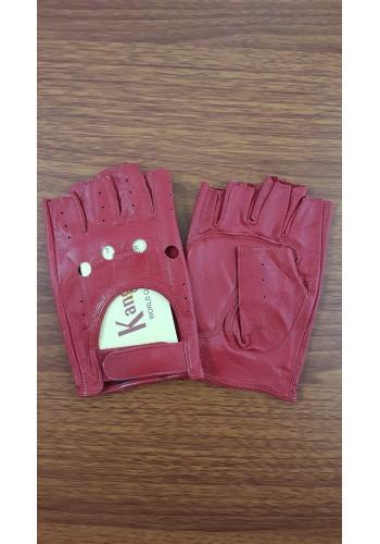 S 8152  Дамски шофьорски ръкавици от естествена ярешка кожа в червено