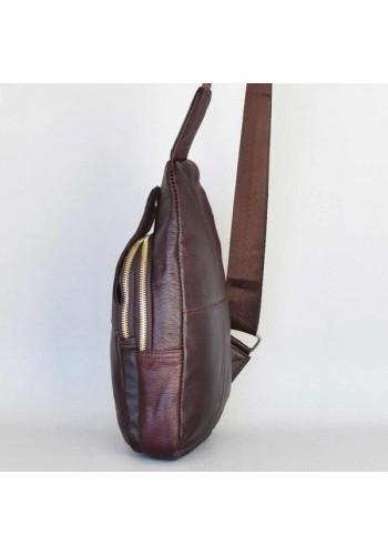 SL 01AA  Чанта раничка мъжка от естествена телешка кожа за през рамо, гръб, гърди или под ръка - бургунди