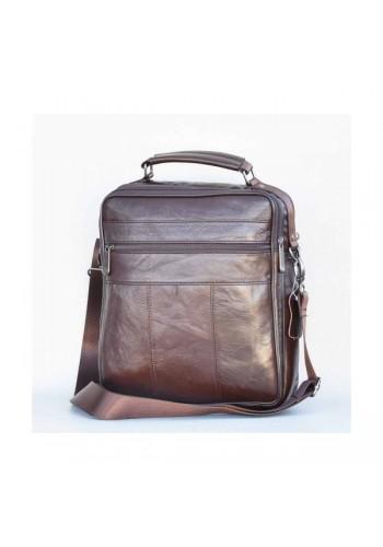 S 5016 Мъжка ГОЛЯМА чанта от естествена кожа - телешки бокс изчистена кафява за през рамо и в ръка