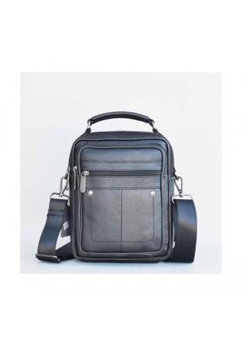 S 5012 Мъжка чанта от естествена кожа - телешки бокс изчистена черна за през рамо и в ръка - средна
