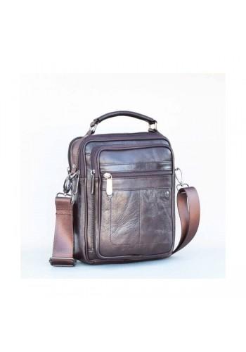 S 5012 Мъжка чанта от естествена кожа - телешки бокс изчистена кяфява за през рамо и в ръка - средна