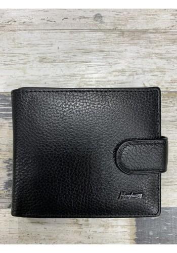 MS 29 Мъжки портфейл от естествена телешка кожа в черно