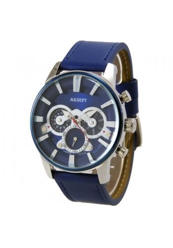 2107-4  Мъжки часовник  AKSEPT - BLUE  с антиалергична кожена каишка