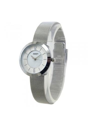 2140-1  Дамски часовник  AKSEPT  с метална плетена верижка