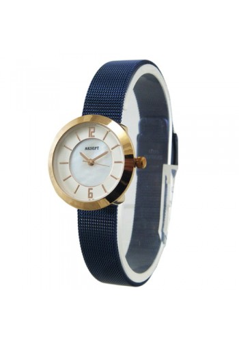 2140-4  Дамски часовник  AKSEPT  с метална плетена верижка